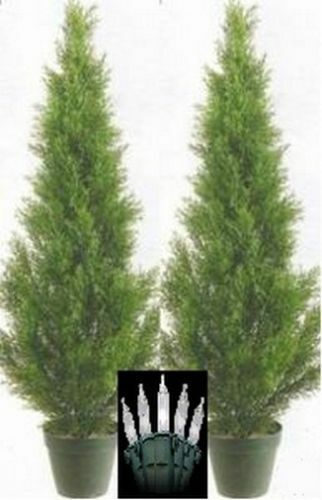 CEDAR 3 39 OUTDOOR TOPIARY TREE UV PLANT ARTIFICIAL CYPRESS CHRISTMAS LIGHT
