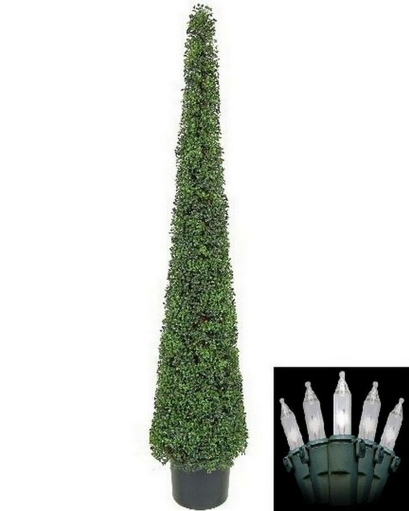 6 39 Artificial Boxwood Topiary Christmas Tree Potted Indoor