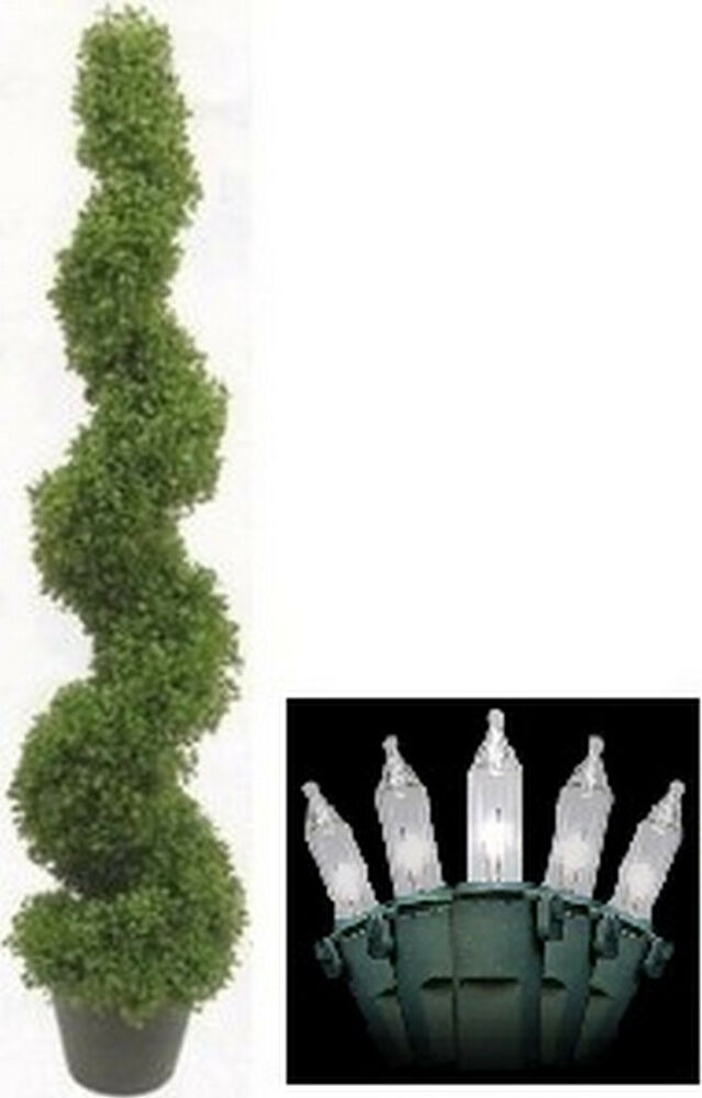 """4' 2"""" Artificial Boxwood Spral Topiary Christmas Tree In ..."""
