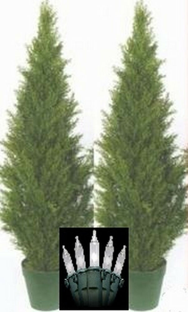 "2 Artificial 48"" Outdoor Cedar UV Topiary Tree Christmas ..."