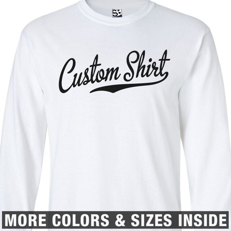 ca1d4d67 Details about Custom Script & Tail LONG SLEEVE T-Shirt Personalized Baseball  Jersey Style Text