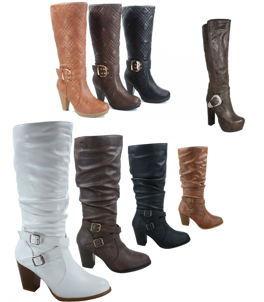 s chunky high heel quilted mid calf knee high dress