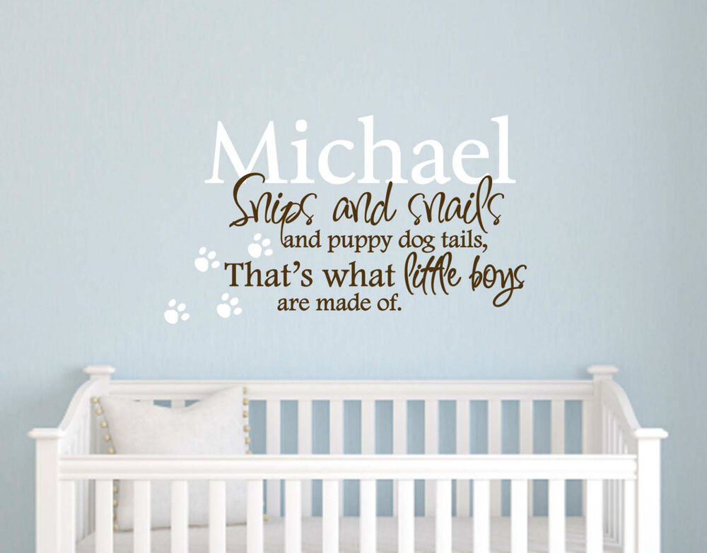 PERSONALIZED Vinyl Wall Decal Quote Baby Boy Nursery Art | eBay  sc 1 st  eBay & SNIPES AND SNAILS... PERSONALIZED Vinyl Wall Decal Quote Baby Boy ...