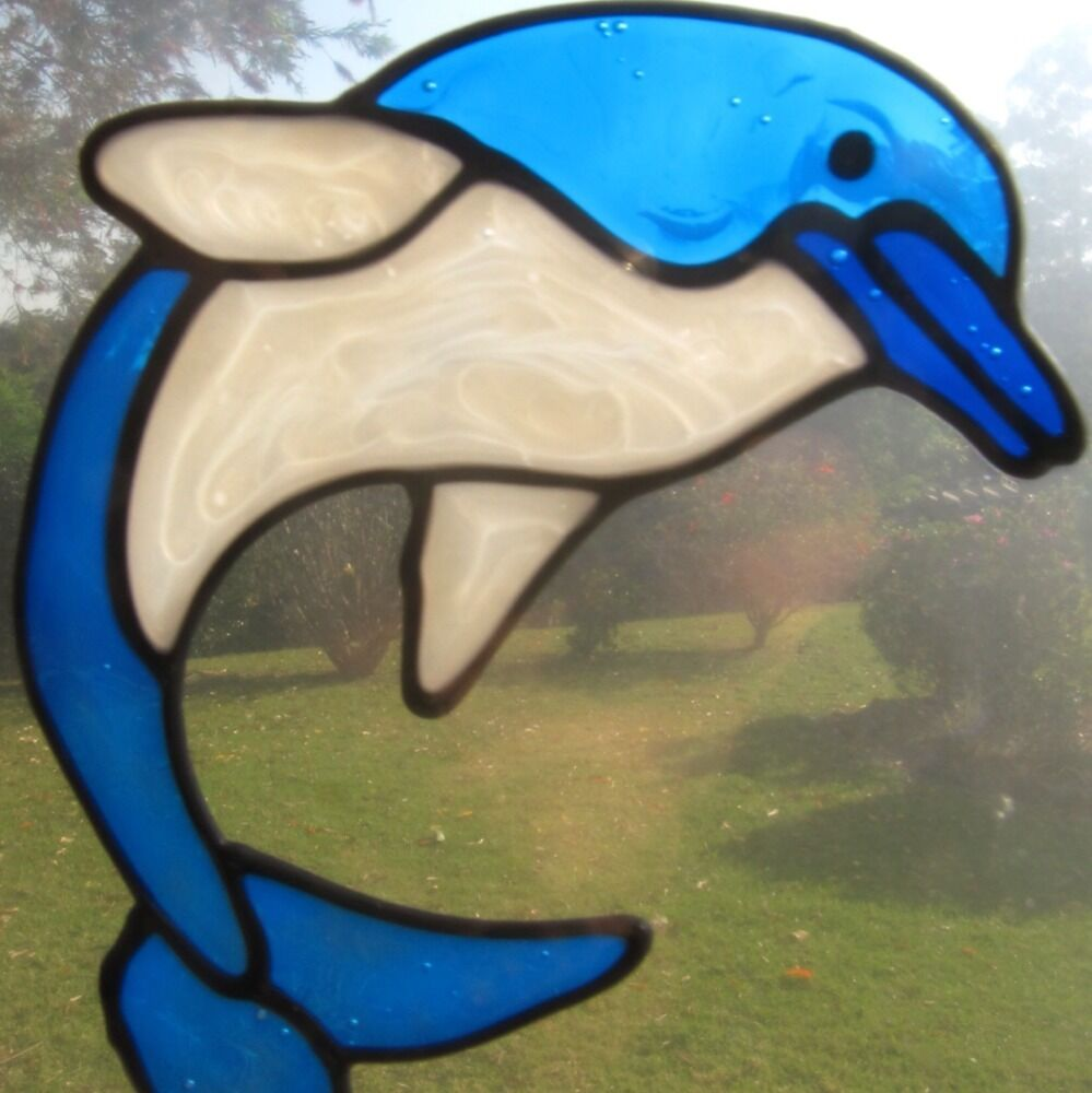 Dolphin Porpoise Stained Glass Type Suncatcher Window