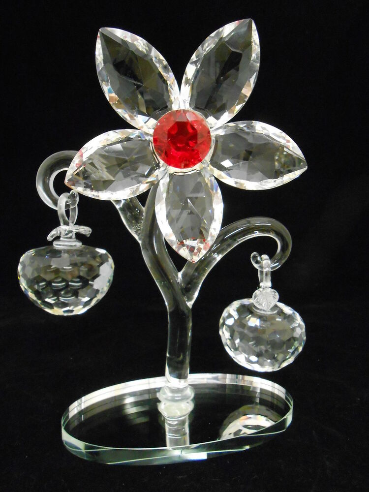 Crystal Wedding Gift: Crystal Flower With Apples /Gift /wedding Favor