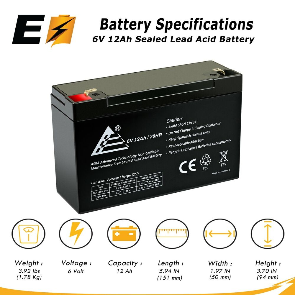 new 12ah 6v volt 12 amp hour sealed lead acid battery. Black Bedroom Furniture Sets. Home Design Ideas