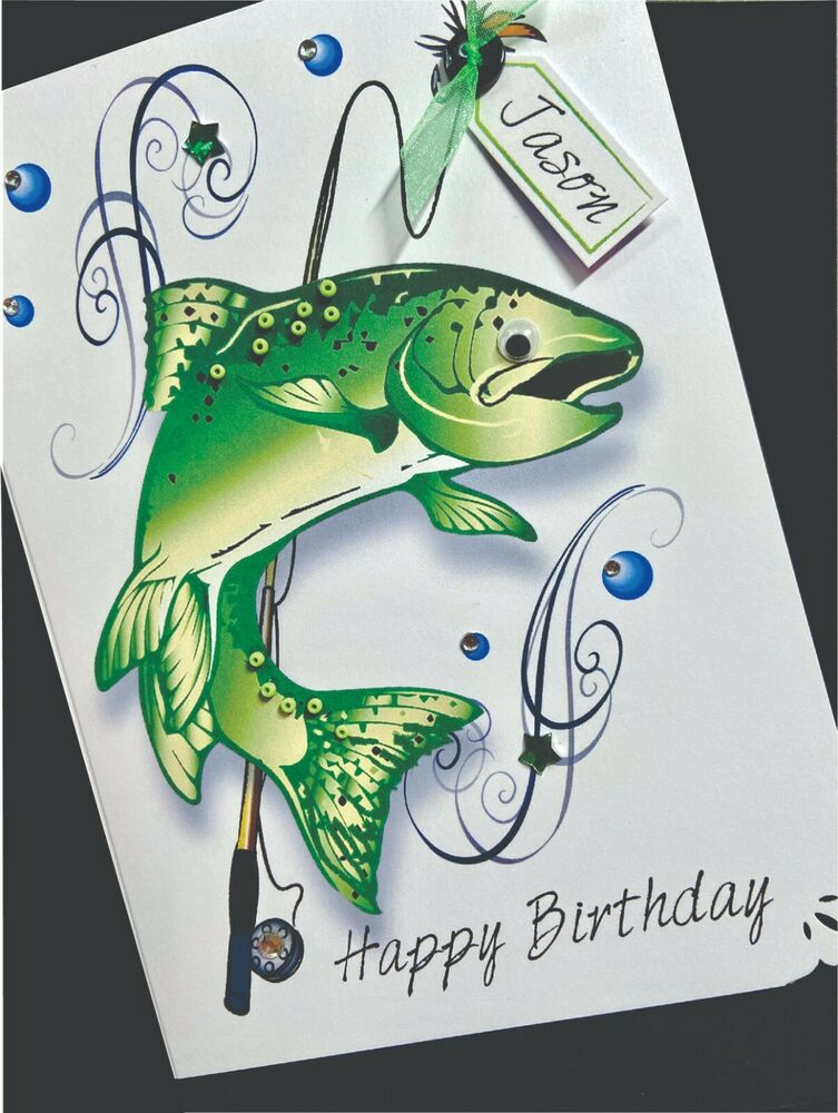 HandMade Personalised Handmade FISHING Birthday Card – Fish Birthday Cards