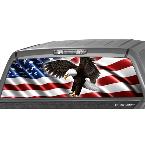 AMERICAN FLAG Bold EAGLE Rear Window Graphic Decal Pickup Truck suv ford dodge | eBay