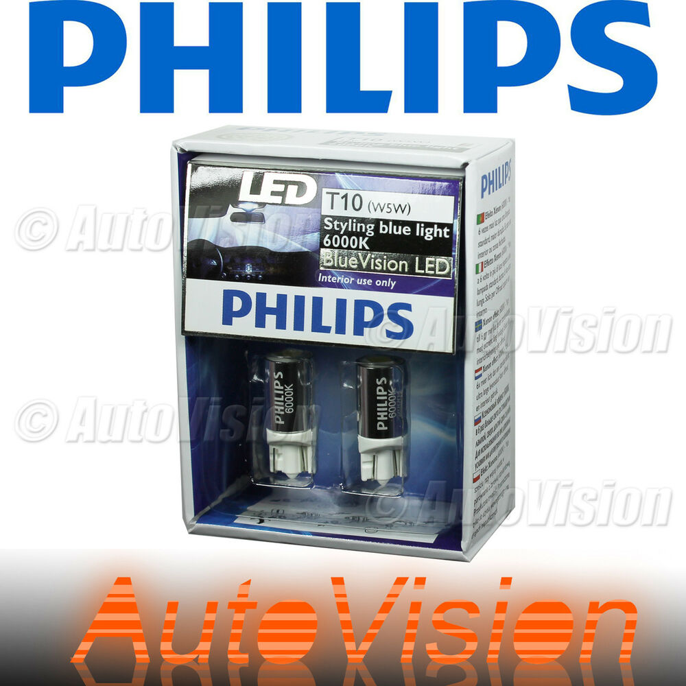 new philips bluevision t10 6000k blue led bulb x2pcs 168. Black Bedroom Furniture Sets. Home Design Ideas