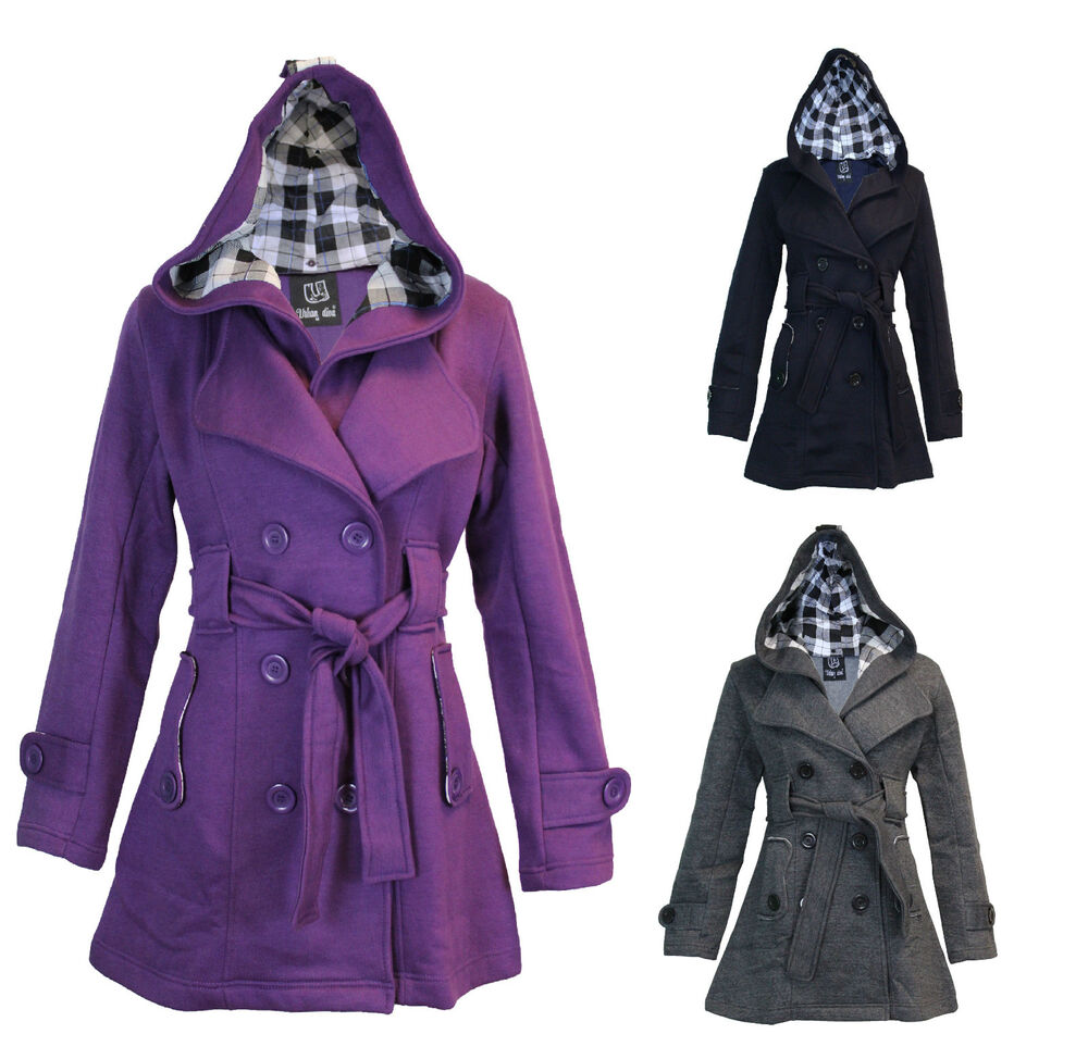 LADIES WOMENS BLACK HOOD BELTED TRENCH MAC FLEECE JACKET ...