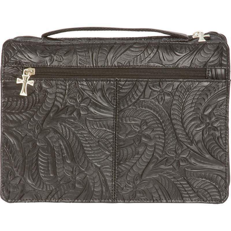 Bible Covers: Womens Genuine Leather Embossed Bible Cover, Girls Black