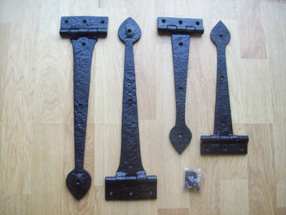 2 Sizes Black Antique Wrought Iron Heavy Duty Door Gate T Hinge Tee Hinges