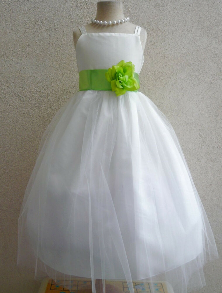 IVORY / LIME GREEN BRIDESMAID WEDDING RECITAL PAGEANT ...