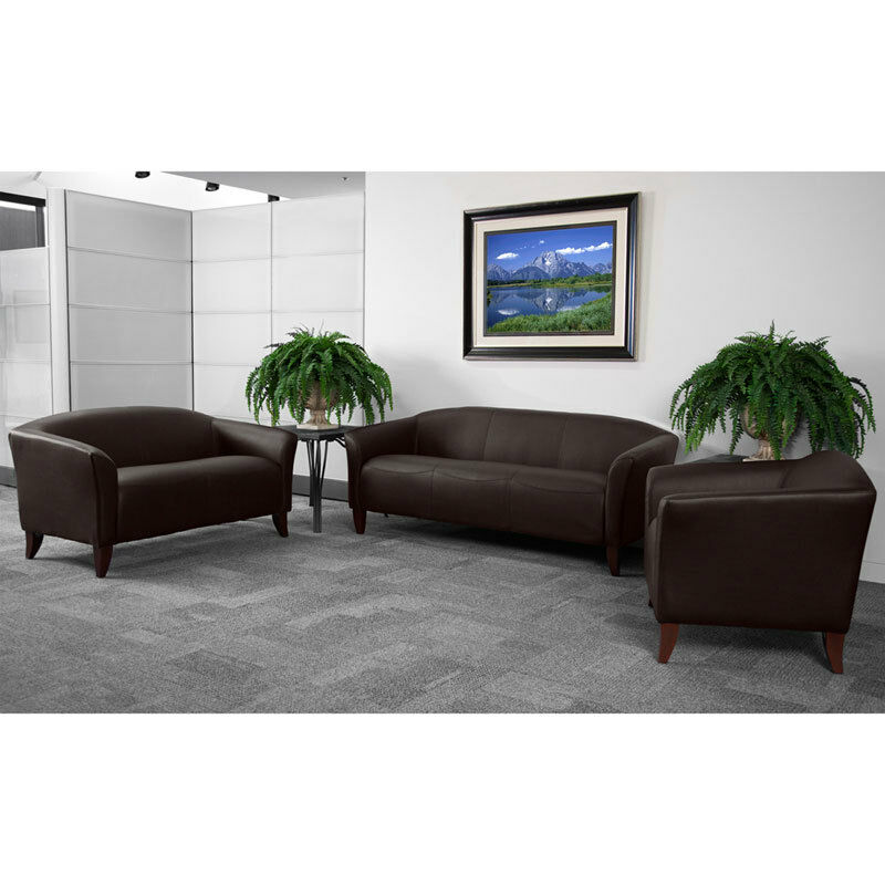 BROWN LEATHER OFFICE SOFA RECEPTION AREA SEATING SET 847254016841   eBay