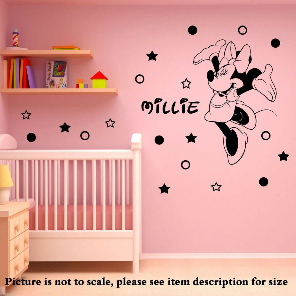 disney minnie mouse personalised wall sticker art decal mural vinyl 20 polka dot ebay. Black Bedroom Furniture Sets. Home Design Ideas