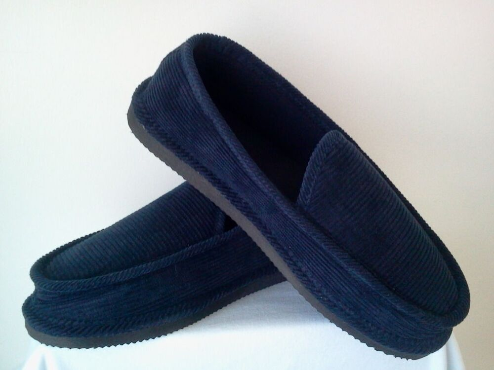 Captivating NAVY BLUE CORDUROY HOUSE SHOES LOOX SLIPPERS NEW SIZE 8 9 10 11 12 13 | EBay