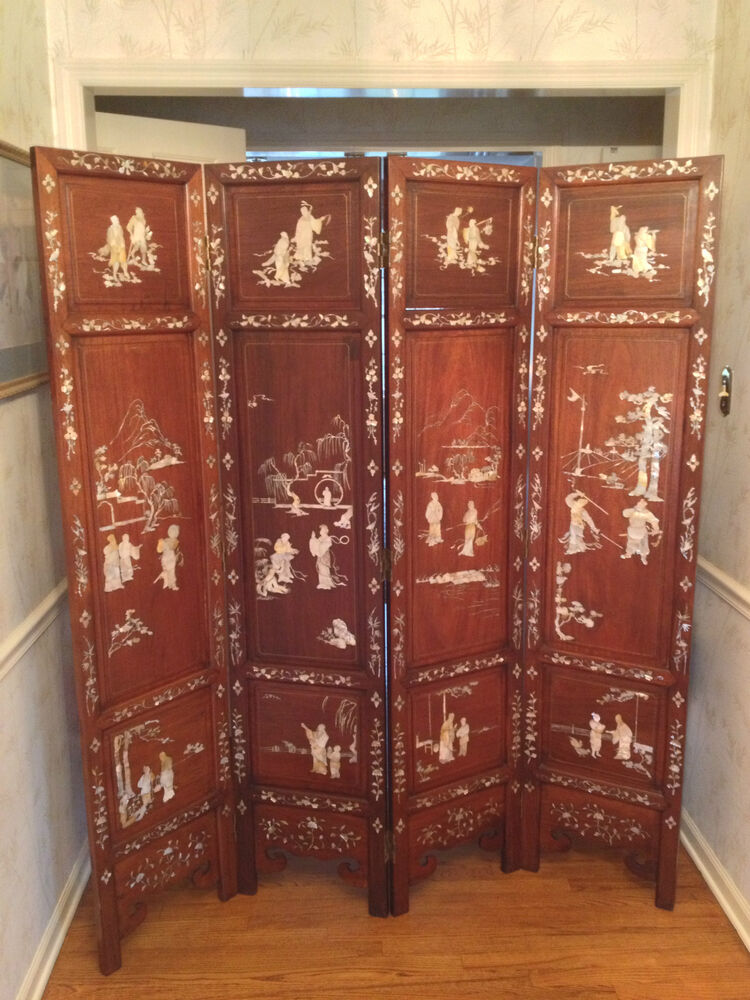 Asian Carved Wood 4 Panel Room Divider Screen Brass Hinges
