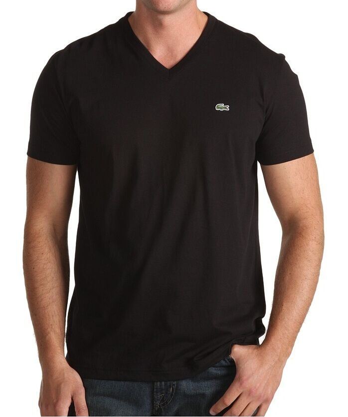 7bef6b17b Details about NWT LACOSTE MEN S BLACK CROC LOGO PIMA JERSEY SS V-NECK TEE T  - SHIRT
