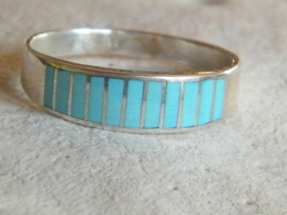 Native American Navajo Wedding Band Ring Turquoise Inlay Mens Sterling Silver