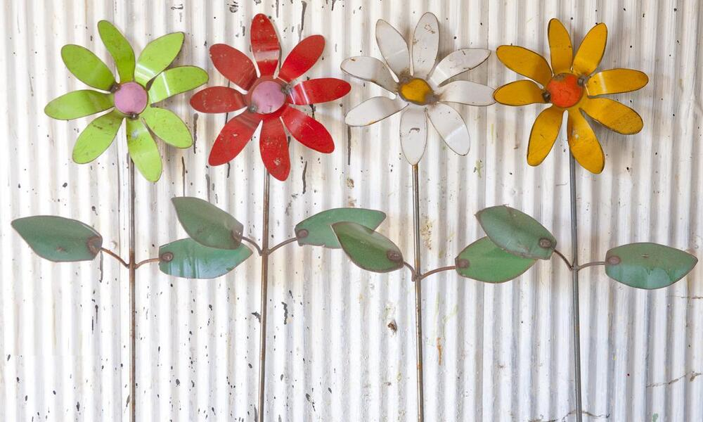 recycled metal colorful flower garden stakes yard decor