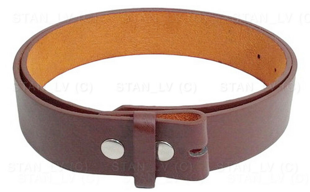brown plain solid leather belt no buckle many colors new