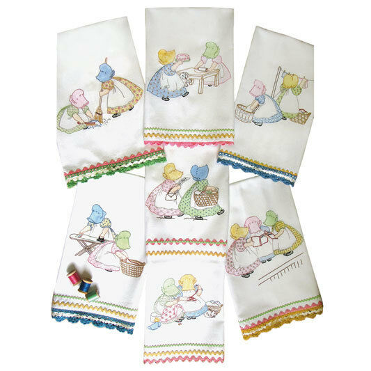 Friends Tea Towel Iron-On Patterns Transfers Sunbonnet