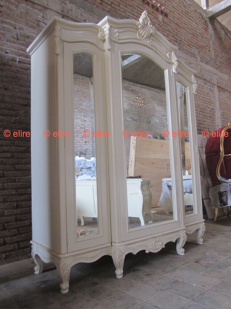 bespoke large armoire wardrobe with mirrors rococo solid. Black Bedroom Furniture Sets. Home Design Ideas