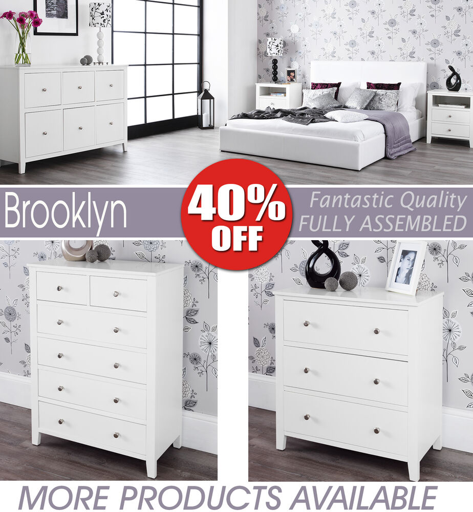 Ready Assembled White Bedroom Furniture Double Chest Of Drawers Ebay