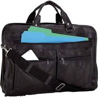Black Genuine Leather Business Briefcase, School Messenger  Laptop Shoulder Bag