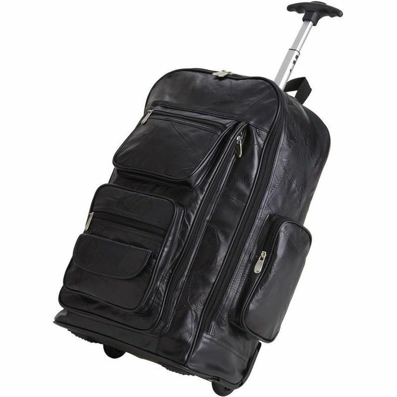 """Leather 24"""" Rolling Carry-On Luggage Bag , Mens School ..."""