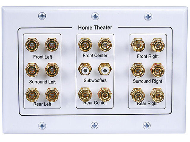 home theater wall plate 7 1 8 2 binding post rca speaker wire wall plate banana plug home theater new