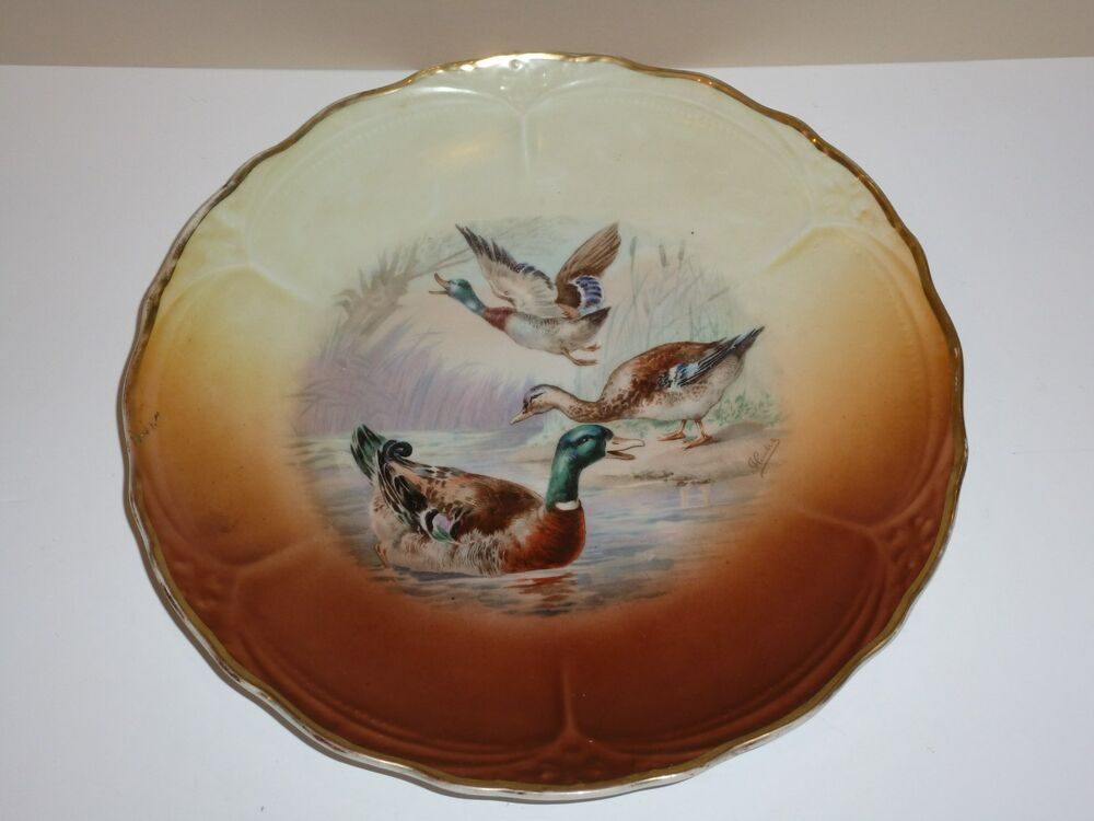 Hand Painted Plates : Vintage hand painted plate ducks signed ebay
