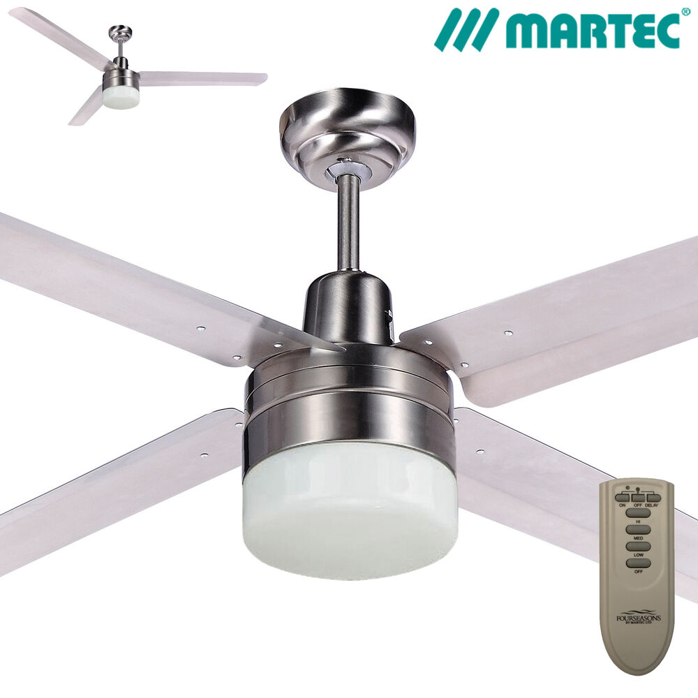 Martec ceiling fan with light and remote : Martec trisera quot brushed nickel ceiling fan with light