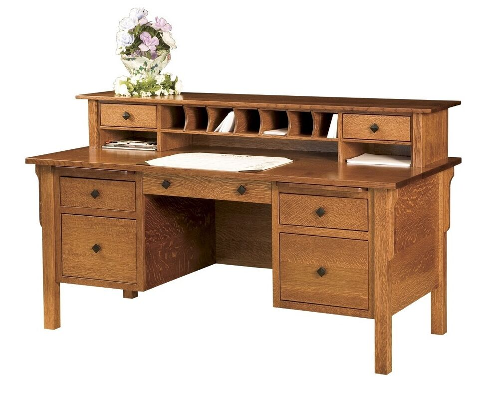 Amish Mission Writing Secretary Desk Solid Wood Home