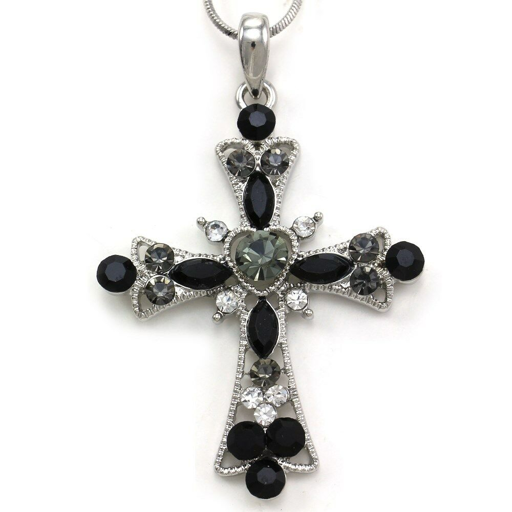 Black clear christian catholic religion cross heart charm for Black and blue jewelry cross necklace