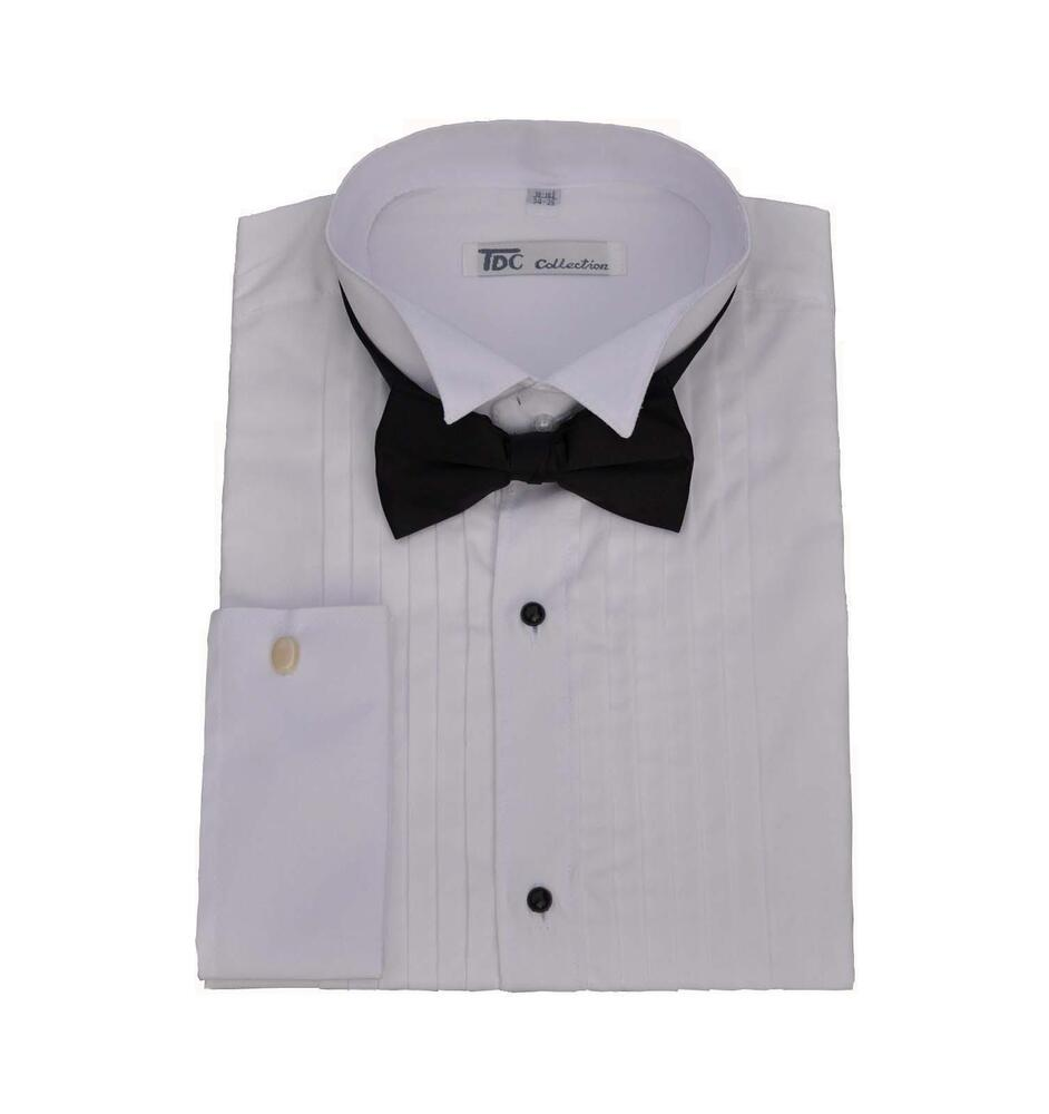 Men 39 S Tuxedo Dress Shirt Wing Collar And French Cuff With
