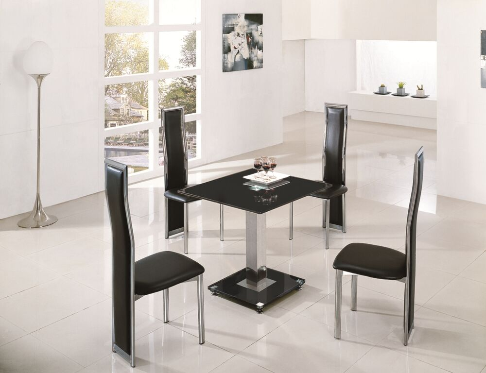 Lodi Square Glass Chrome Dining Room Table 2 Chairs Set Furniture Ij601 899 Ebay