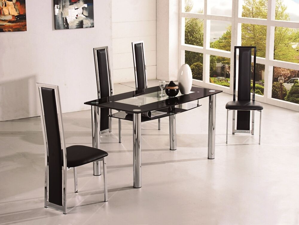rovigo small glass chrome dining room table and 4 chairs set 105 cm