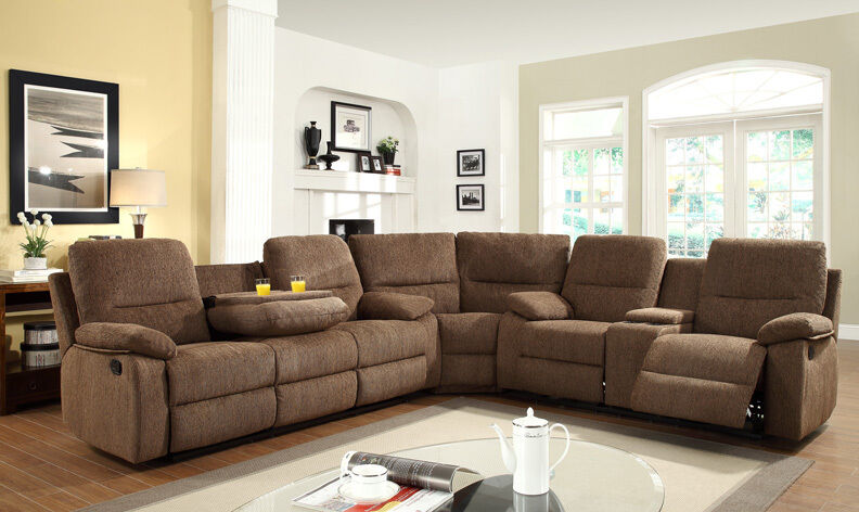 3pc Transitional Modern Sectional Recliner Fabric Sofa Set