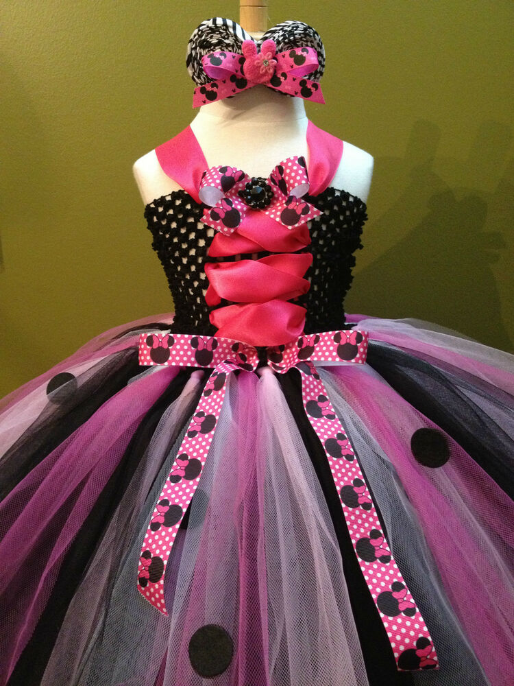 Minnie mouse hot pink and black with dots cute headband newborn 5t 6