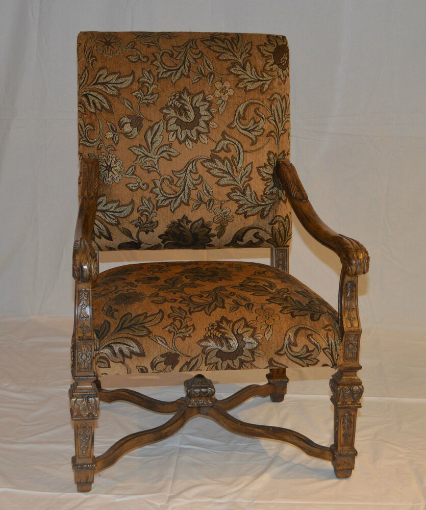 Traditional Wood Carved Arm Chair Ebay