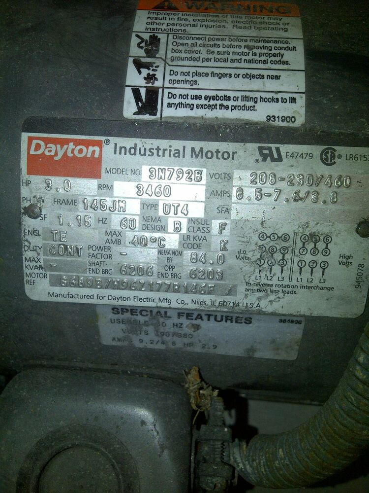 Dayton industrial motor model no 3n792b ebay for Daher motors kingston nh