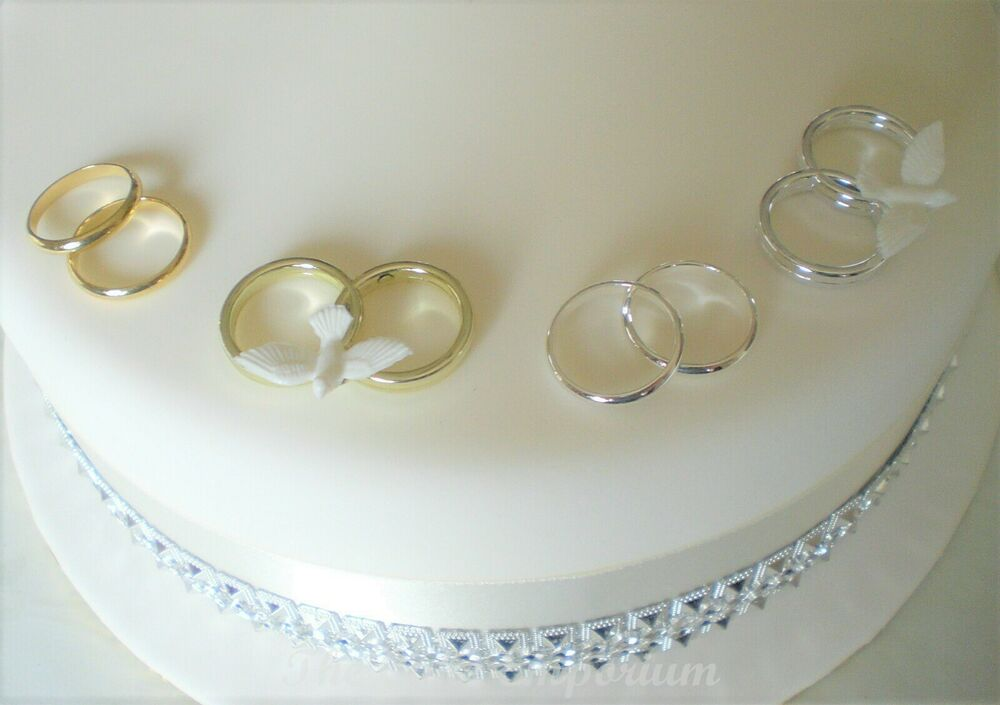 GOLD OR SILVER WEDDING RINGS CAKE DECORATION X 2