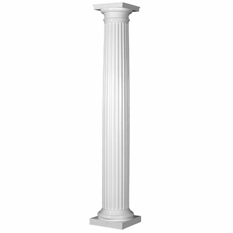 Fiberglass fluted tapered column with tuscan capital for 10 fiberglass columns