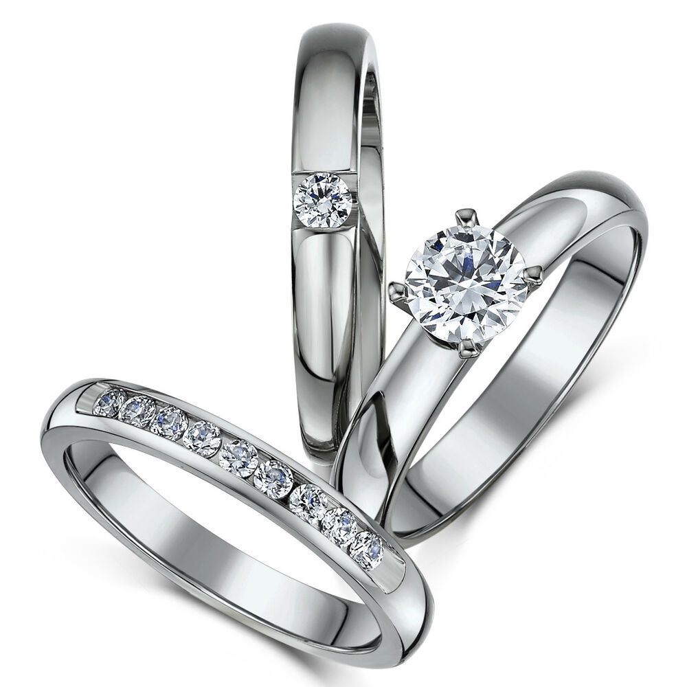 Eternity Ring Wedding Set: Brand New Titanium Bridal Triple Set Engagement Eternity