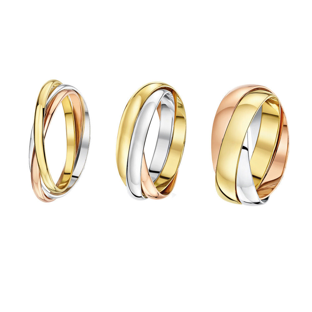 69c10a440378e9 Details about 9ct Russian Wedding Ring Multi-Tone 3 Colour Gold Band Three  Colour 2mm 3mm 4mm