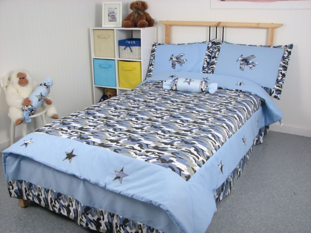 blue camouflage army boy twin childrens bedding set 4pc ebay. Black Bedroom Furniture Sets. Home Design Ideas