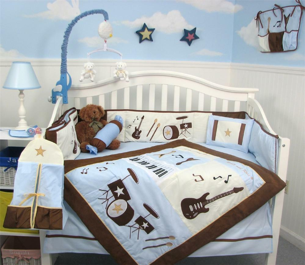 Blue brown rock band baby crib nursery bedding set 13 for Rock n roll baby crib set