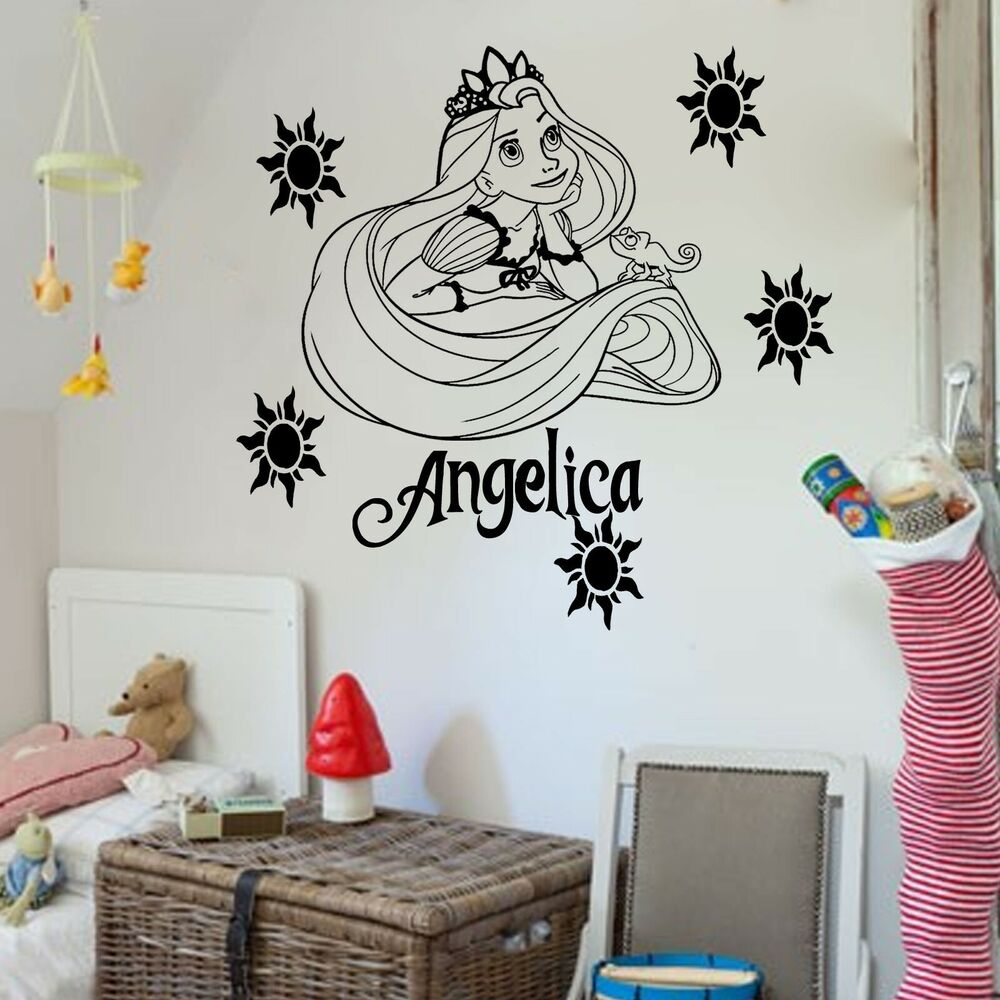 Disney princess rapunzel tangled vinyl wall art sticker for Disney wall stencils for painting kids rooms