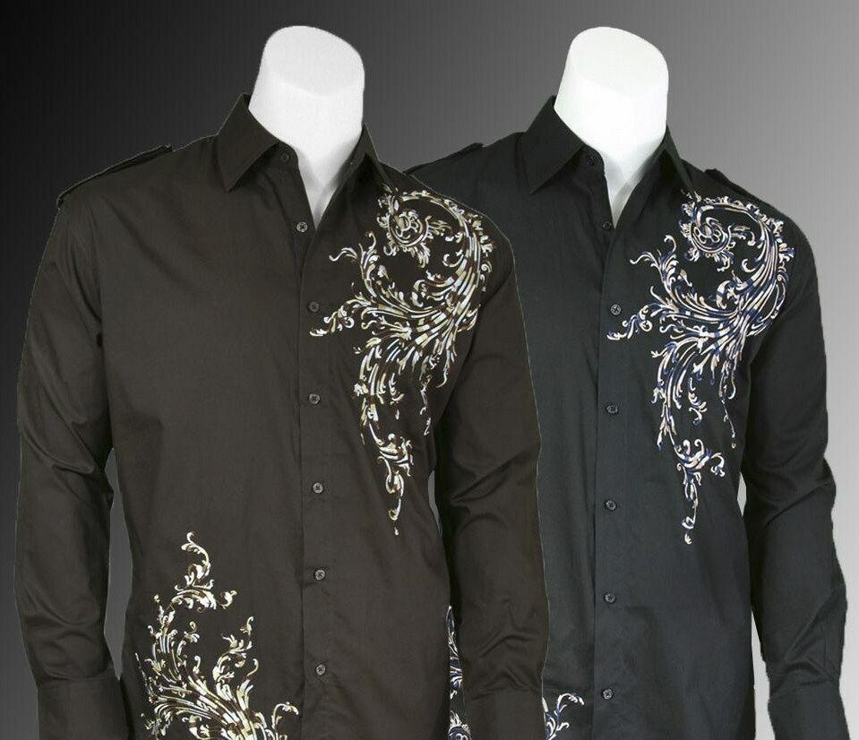 Men 39 s cotton embroidered long sleeve western shirt 38 for Black brown mens shirts